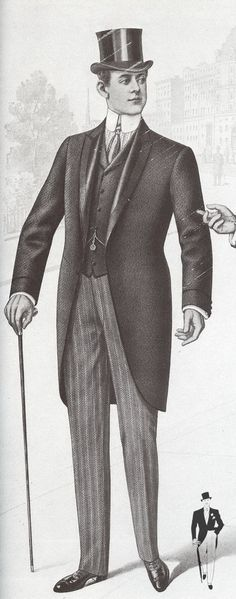 "Morning Dress 1901 With Partial Silk Facings -- ' The Gentleman's Magazine of Fashion reported in 1887 that ""solicitors and doctors hardly ever were frock coats, always morning coats."" '"