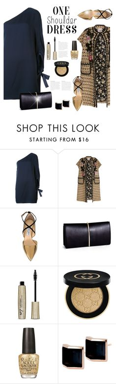 """""""Party Style: One-Shoulder Dress"""" by bliznec ❤ liked on Polyvore featuring Halston Heritage, Antonio Marras, Jimmy Choo, Nina Ricci, Gucci, OPI, Kattri, dress, polyvoreeditorial and polyvorecontest"""