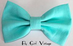 Vintage 1940s Style Hair Bow Clip- Aqua Blue- Fabric Hair Bow-Rockabilly-Pin Up- Mod- For Women, Teens, Girls, Baby, Kids. $4.00, via Etsy.