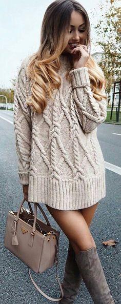 Cream Knit Dress +grey OTK Boots