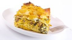 Layers of sausage, ricotta, greens and butternut squash pur�e = YUM!