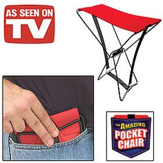 Amazing pocket chair actually folds up and fits in your pocket! The chair opens in a snap to a super-strong seat! Take it fishing, camping, to picnics, sporting events, etc. $4.49