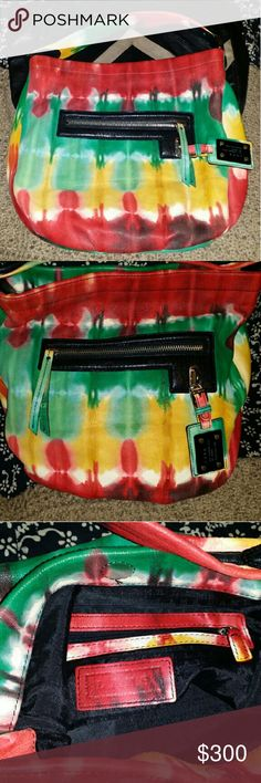 L.A.M.B rasta leather sample bag Beautiful, no damage, sample lamb bag, perfect for shoulder, under arm and to hand carry. I've never seen another like it. 100% leather, signature black with logo inside lining. Leather handle, lamb tag, all zippers perfect, a true beauty. Wish they'd made more like this beauty. Has one pocket inside with zipper. Magnetic top closure. Make an offer! L.A.M.B. Bags Shoulder Bags