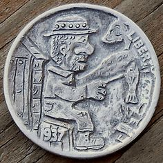 John Carter - Fish Fry Hobo Nickel, Coin Art, Fish Fry, Buffalo, Coins, Carving, Personalized Items, Fried Fish, Rooms