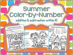 Your students will love practicing addition and subtraction facts with these fun Summer theme color by number worksheets! Included are 8 color by number printables; addition & subtraction facts within 10. Black and white and UK/Australian versions are provided. Aligned to Common Core standards. $