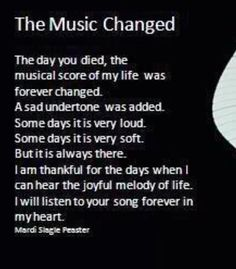 Grieving - The Day The Music Changed...Read More...