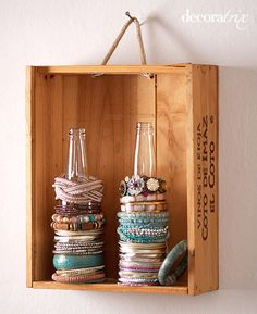 Displaying bracelets instead of hiding them in a jewelry box - Love the wooden box but could repurpose an old shoe box.. hmmmmm
