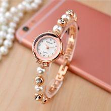 e30bbbc7b85 Luxo em Ouro Rosa Pérola pulseira relógios das senhoras das mulheres da moda  Strass Vestido relógio