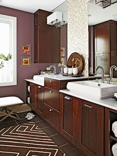 Purple: Just Plummy Rooms bathed in natural light balance saturated plum walls. In rooms with little light, use the hue as an accent. -- Elaine Griffin, New York City-based interior designer I don't care for the wall color but I love the cabinets Bathroom Color Schemes, Bathroom Colors, Small Bathroom, Plum Bathroom, Bathroom Ideas, Paint Bathroom, Modern Bathroom, Master Bathroom, Remodel Bathroom