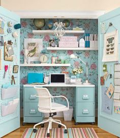 Think you don't have enough space for a home office? Transform a cluttered closet into an accessible workspace that is blooming with inspiration. Choose a chair with an adjustable seat so that it can slide under the desk, which can be made using metal file cabinets and a ready-made melamine desktop.
