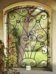 Through the Iron Window View^ Wrought Iron Decor, Wrought Iron Gates, Iron Windows, Iron Doors, Burglar Bars, Window Bars, Window Grill Design, Metal Gates, Iron Furniture