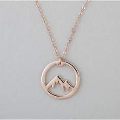 Circle Mountain Necklace Rose Gold Adventure Necklace ($39) ❤ liked on Polyvore featuring jewelry, necklaces, circle jewelry, pink gold jewelry, circle necklace, rose necklace and rose jewelry