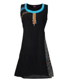 Love this Black Geometric-Panel Tie-Back Sleeveless Dress - Plus Too on #zulily! #zulilyfinds