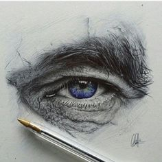 Absolutely stunning drawing of an eye with ballpoint pen. by chrisherreraart | Shared by @kitslam | #eye #drawing #realistic
