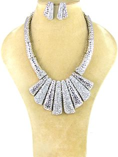 Silver necklace with clear stones and matching post earrings.$34.95 shipped! We accept PayPal!