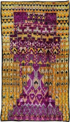 Vintage Tribal Moroccan Rug Azilal Tribe
