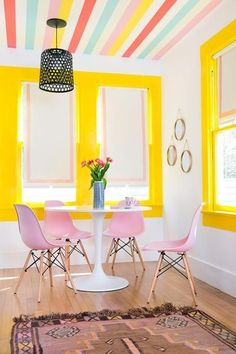 Home Decor Signs Colorful Dining Space // At Work with Katie Kime in Austin Texas // A Beautiful Mess.Home Decor Signs Colorful Dining Space // At Work with Katie Kime in Austin Texas // A Beautiful Mess Estilo Kitsch, Striped Wallpaper, Colorful Interiors, Colorful Interior Design, Colorful Decor, Colorful Cafe, Colorful Rooms, Colorful Apartment, Colorful Houses