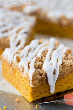 Pumpkin Coffee Cake with crumble topping and icing! Love this!