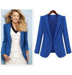 V-Ausschnitt Damen Blazer in Blau
