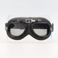 Aviator Pilot Chopper Cruiser Bikes Motorcycle Goggles Eyewear Black Frame Gray lens