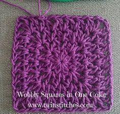My Wobbly Square - Free Pattern - what if you wanted to use a variegated yarn or a single color? Now, you can do it! You can find the pattern for the Wobbly Square without color changes on my blog!