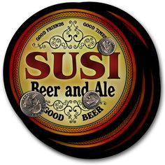 Beer Coasters 4pc Choose Name- Susi Zipp Rehn Amir Bong Urie Mody Sevy Suri Bolz…