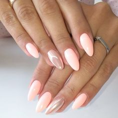 Want some ideas for wedding nail polish designs? This article is a collection of our favorite nail polish designs for your special day. Read for inspiration Pink Gel Nails, Peach Nails, Metallic Nails, Shellac Nails, My Nails, Hair And Nails, Fall Nails, Stiletto Nails, Acrylic Nails
