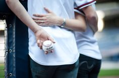 baseball engagement picture...love it! a good idea for a thank you  @Chelsee Ann  LOVE this one.  Just bring lots of balls and a permanent marker. :)