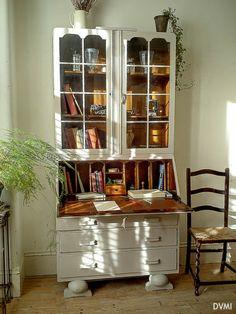 Lovely Painted Vintage Shabby Chic Bureau Bookcase Cabinet Farrow & Ball