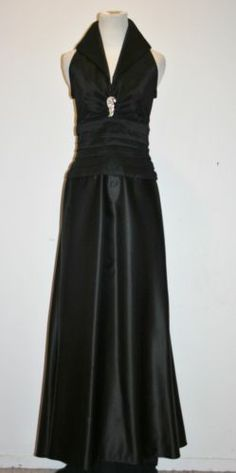 Elegant TADASHI Crystal Ruched Black Satin Collared Long Cocktail Dress Gown ~ This is the first one I have seen with the pendant ACTUALLY ON it and not lost