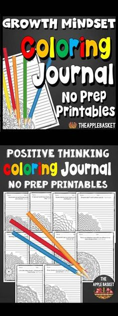 Growth Mindset Coloring Journal No Prep Printables for Grades 3-6