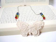 Ivory Butterfly Lace Necklace Women accessories  3D by bytugce, $22.00