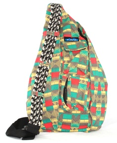 Kavu rope bag. Pueblo print.KAVU Rope Sling-Chevron-100% Polyester. The KAVU Rope Bag's fraternal twin the only difference is the fabric. Adjustable rope shoulder strap, two vertical zip compartments, two zip key/phone pockets, padded back with KAVU embroidery and ergonomic design to fit the body like a bag should.