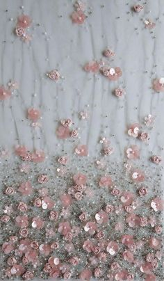 Haute couture fabric hand embroidered ribbon and sequin flowers on tule Tambour Beading, Tambour Embroidery, Couture Embroidery, Embroidery Dress, Ribbon Embroidery, Sequin Embroidery, Couture Beading, Hand Embroidery Designs, Embroidery Patterns