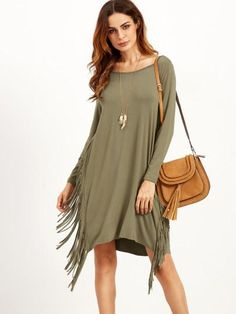 Green long sleeve fringe dress. Perfect fall colors dress with fringes down the side. Cuff(Cm): XS:18cm, S:19cm, M:20cm, L:21cm Bicept Length(Cm): XS:30cm, S:31cm, M:32cm, L:33cm Fabric: Fabric has so