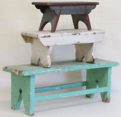 Three old cricket stools in old paint. **