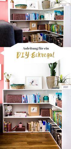 Jetzt auf dem Blog: Mein DIY Eckregal mit Bauanleitung. I Bücherregal selber bauen I DIY Möbel I Regal selbst bauen I Boho Interior I Kaktus