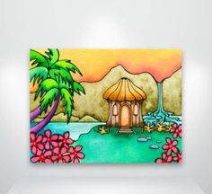 Little Grass Hula Shack This is a fine art giclée print of an original watercolor, acrylic and ink painting. It is printed on archival matte Oil Pastel Crayons, Oil Pastel Art, Oil Pastel Drawings, Oil Pastels, Nature Drawing For Kids, Art Drawings For Kids, Easy Drawings, Drawing Pics, Poster Drawing
