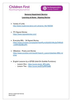 PDF with links to 'signing stories' resources for children with hearing impairments. Hearing Impairment, Service Learning, English Lessons, Pdf, Education, Children, Young Children, Boys, Kids