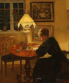 Reading by Lamplight - Niels Holsoe 1907 Dänish, 1865 – 1928 Oil on canvas, 53,5 x 45,3 cm (21,1 x 17,8 in)
