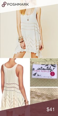 free people size s cream trapeze swing dress lightly used no flaws Free People Dresses