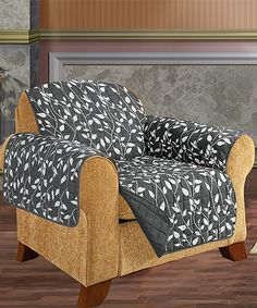 Elegance Linen Gray Leaf Reversible Quilted Chair Slipcover | zulily