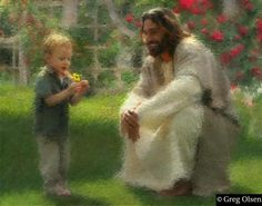 """Learn to see with your heart the things your eyes cannot. (""""The Dandelion"""" by Greg Olsen) God and Jesus Christ Greg Olsen Art, Religion, Pictures Of Christ, Lds Art, Jesus Is Lord, Christian Art, Christian Quotes, Christian Paintings, Religious Art"""