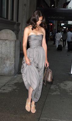 gray chiffon gown- katie holmes