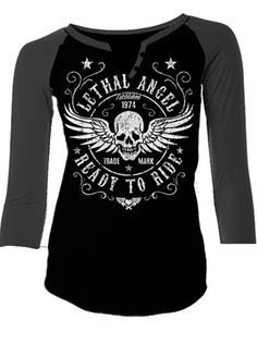 """Women's """"Ready to Ride"""" Tee by Lethal Angel (Black) #InkedShop #InkedMag #Ready #Ride #Tee #Black"""