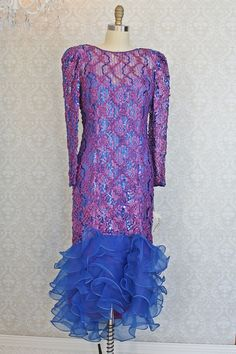 Frothy 1980s Sequin + Ribbon Ruffle Hem Lace Dress