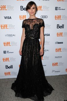 Keira Knightley in an Elle Saab dress, black lace