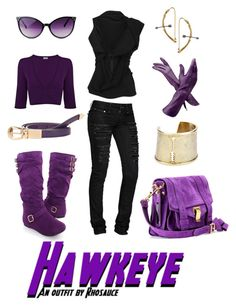 """""""Hawkeye (feminine)"""" by rhosaucey ❤ liked on Polyvore featuring Aspinal of London, House of Harlow 1960, Proenza Schouler, K Brunini, H&M and Vivienne Westwood"""