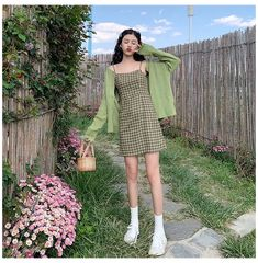 #spaghetti #strap #dress #with #cardigan #spaghettistrapdresswithcardigan Cute Casual Outfits, Girly Outfits, Retro Outfits, Kpop Outfits, Korean Outfits, Fashion Outfits, Korea Dress, Summer Dress Outfits, Dress With Cardigan