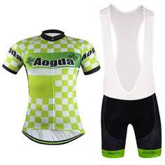 Men's Green Clover Short Sleeve Cycling Jersey Set #Cycling #CyclingGear #CyclingJersey #CyclingJerseySet